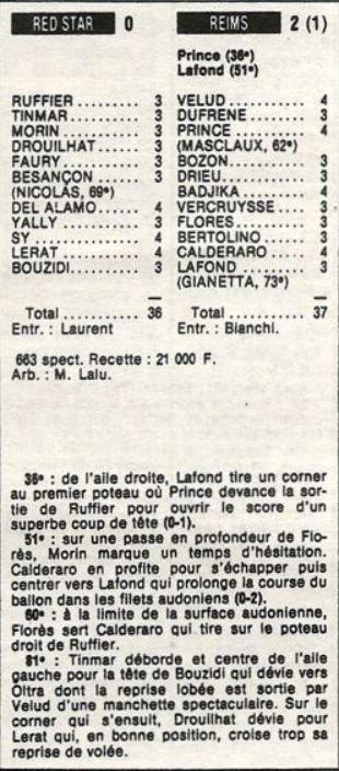 1986 D2A J22 REDSTAR REIMS 0-2, le 06/12/1986