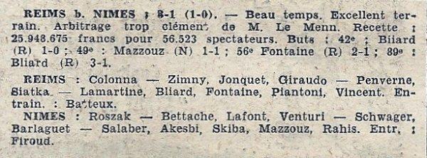 1957 CDF Finale REIMS NÎMES 3-1, le 18/05/1958