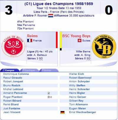 1958 CECC demi-finale retour : REIMS YOUNG BOYS 3-0, le 13/05/1959