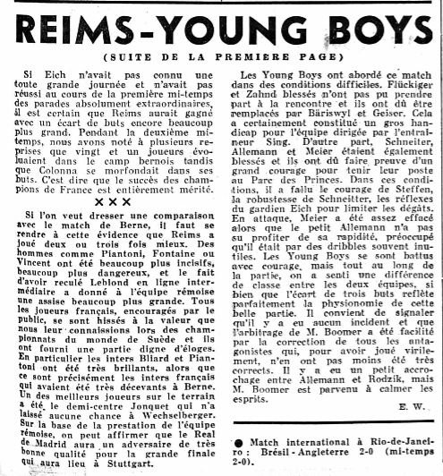 1958 CECC demi-finale retour : REIMS YOUNG BOYS 3-0, le 13/05/1959