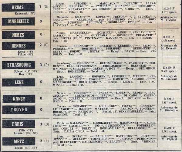 1973 D1 J36 REIMS MARSEILLE 1-0, le 11/05/1974