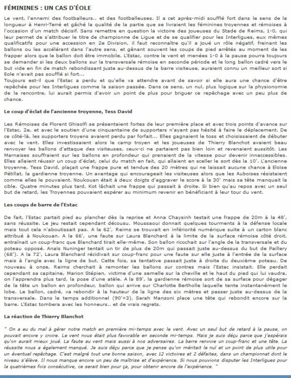 2014  REIMS Féminines :  DH J14 TROYES REIMS 0-1, le 29/03/2015