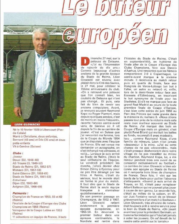 2000 REIMS : Léon GLOVACKI , buteur européen, le 15/06/2001