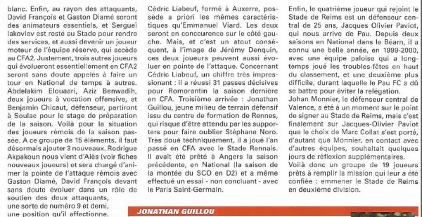 2001 NAT REIMS : Mercato, arrivées, départs , le 01/07/2001