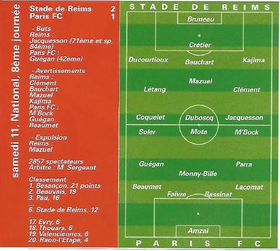 1999 NAT J08 REIMS PARIS FC 2-1, le 11/09/1999