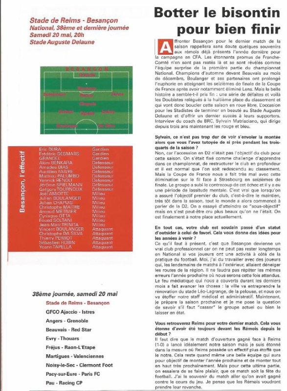 1999 NAT J38 REIMS BESANCON 2-1, le 20/05/2000