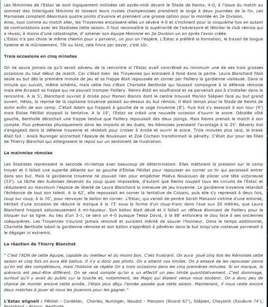 2014 Reims Féminines Barrage J04 TROYES  REIMS 0-4, le 24/05/2015