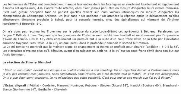 2014 Reims Féminines Barrage J01  REIMS TROYES , le 03/05/2015