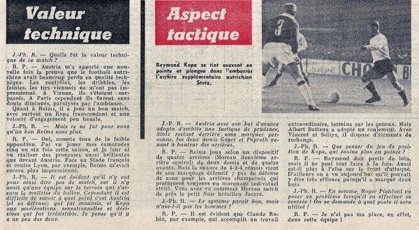 1962 CECC 8ème retour  REIMS AUSTRIA VIENNE 5-0, le 14/11/1962 (suite )