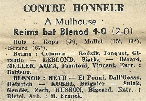 1959 CDF32 REIMS BLENOD 4-0, le 24/01/1960