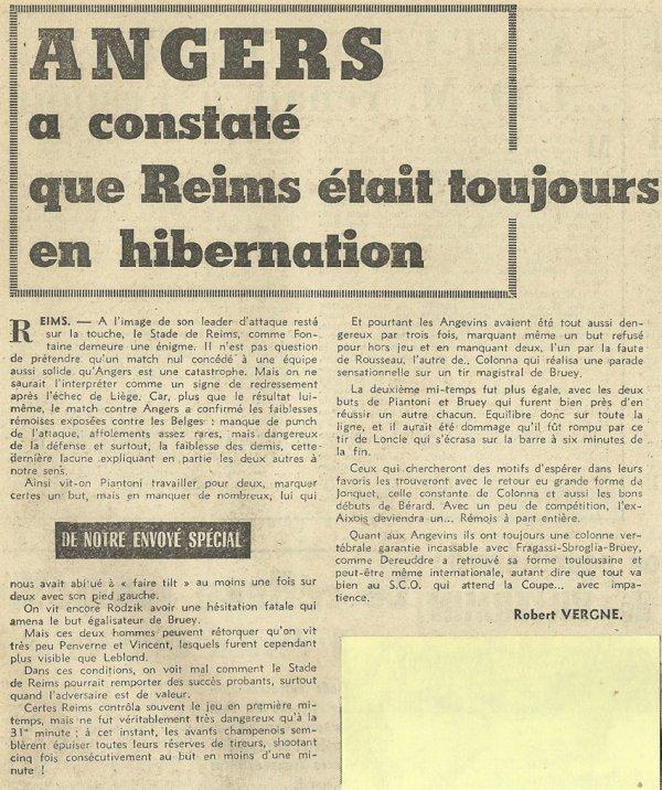 1958 D1 J26 REIMS ANGERS 1-1, le 08/02/1959