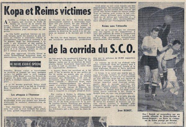 1960 D1 J23 ANGERS REIMS 3-2, le 08/01/1961