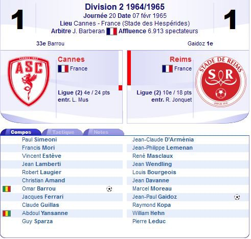 1964 D2 J20 CANNES REIMS 1-1, le 07/02/1965