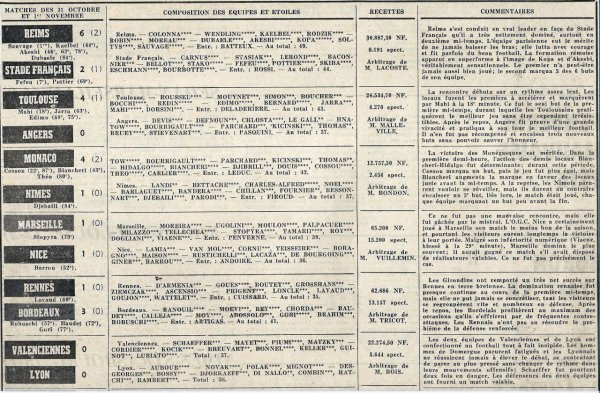 1962 D1 J14 REIMS STADE FRANCAIS 6-2, le 31/10/1962