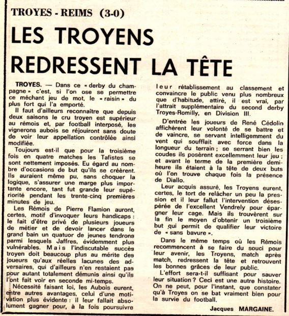 1977 D1 J17 TROYES REIMS 3-0, le 19/11/1977