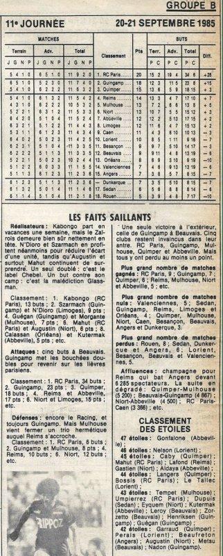 1985 D2B J11 REIMS ANGERS 3-1 , le 20/09/1985