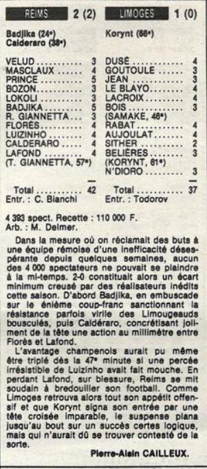 1985 D2B J17 REIMS LIMOGES 2-1, le 01/11/1985