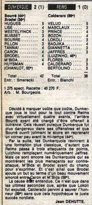 1985 D2B J18 DUNKERQUE REIMS 2-1, le 08/11/1985