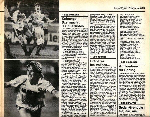 1985 D2B STATISTIQUES de la SAISON, le 30/04/1986