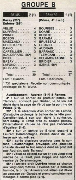 1987 D2B J11 ( Joué après J12) REIMS RENNES 2-1, le 07/10/1987
