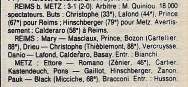 1987 CDF 1/2 Finale Retour REIMS METZ 3-1, le 08/06/1988