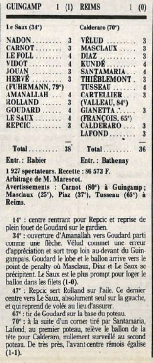 1988 D2A J14 GUINGAMP REIMS 1-1, le 01/10/1988