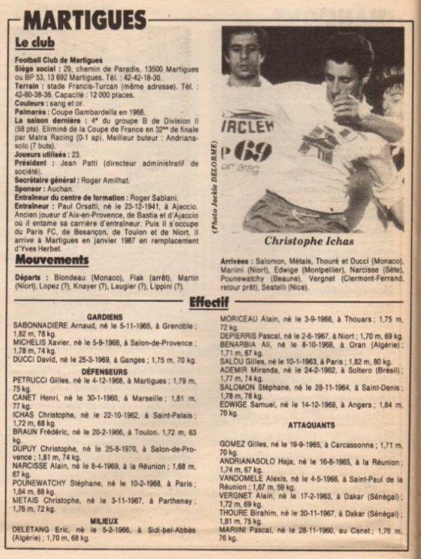1989 D2A J11 MARTIGUES REIMS 1-0, le 23/09/1989