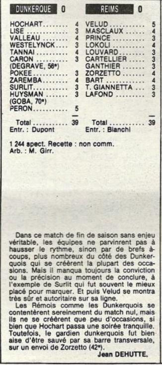 1984 D2A J33 DUNKERQUE REIMS 0-0, le 04/05/1985