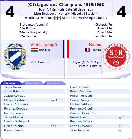 1955 CECC 1/4 Retour : VOROS LOBOGO REIMS 4-4, le 28/12/1955