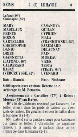 1987 CDF 8ème Aller REIMS LE HAVRE 2-0, le 19/04/1988