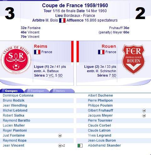 1959 CDF 16ème finale REIMS ROUEN 3-2, le 14/02/1960