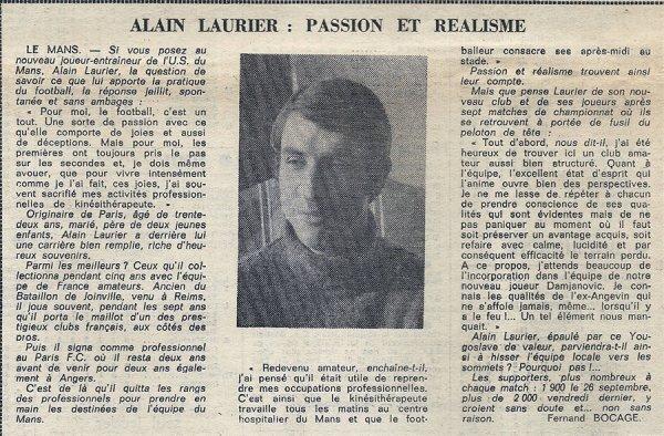 1976 D3 J07 : Alain LAURIER  , Amateur dans l'âme , le 12/10/1976