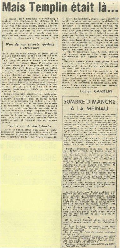 1955 D1 J14 STRASBOURG REIMS 0-1, le 20/11/1955