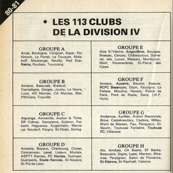 1980 D4 : COMPOSITION DU GROUPE A , le 01/07/80