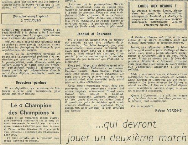 1955 CDF08 REIMS BEZIERS 1-1 ( ap), le 04/03/1956