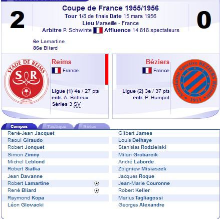 1955 CDF08 2ème match REIMS BEZIERS 2-0, le 15/03/1956