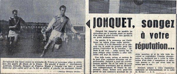 1955 CDF Quart finale TROYES REIMS 3-2, le 08/04/1956