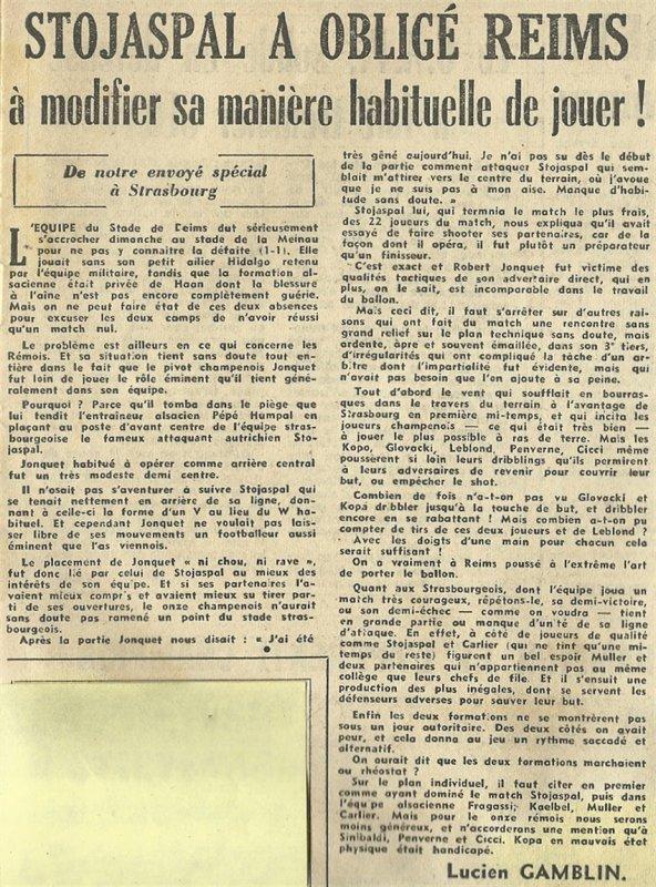 1954 D1 J07 STRASBOURG REIMS 1-1, le 26/09/1954
