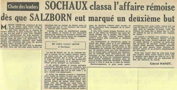 1954 D1 J15 SOCHAUX REIMS 4-1, le 21/11/1954