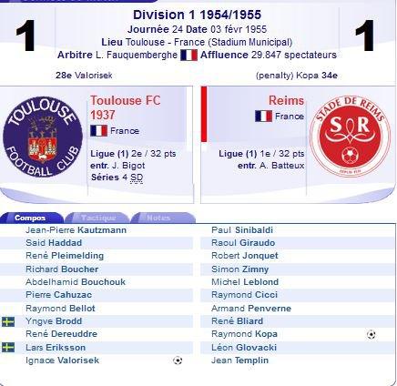 1954 D1 J24 ( joué après j25) TOULOUSE REIMS 1-1, le 03/02/1955