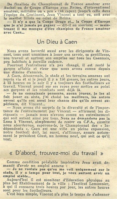 1964 Ex-rémois : VINCENT à CAEN pour batir, le 29/09/1964