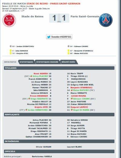 2015 Ligue 1 J06 REIMS PSG 1-1, le 19/09/2015
