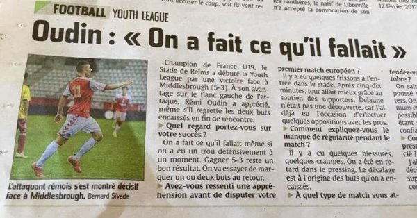 2015 YOUTH LEAGUE : Rémi OUDIN , mention très BIEN, le 05/10/2015