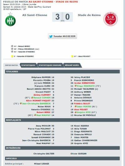 2015 Ligue 1 J12 SAINT-ETIENNE REIMS 3-0, le 31/10/2015
