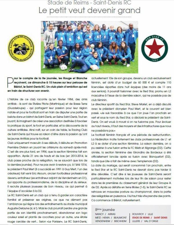 2015 D2 Féminines J08 REIMS SAINT-DENIS 5-1, le 08/11/2015