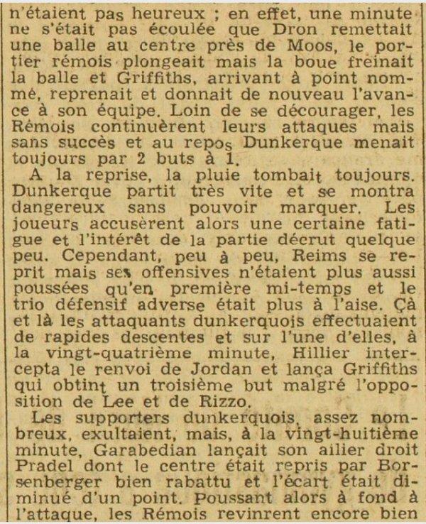 1936 CDF08  DUNKERQUE REIMS 4-2, le 07/02/1937