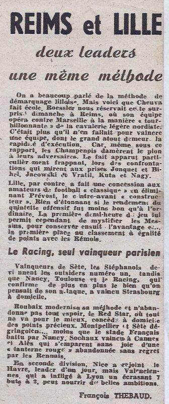 1947 D1 J04 REIMS MARSEIILE 3-0, le 14/09/1947