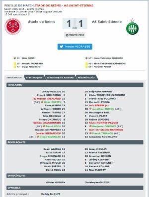 2015 Ligue 1 J22 REIMS SAINT ETIENNE 1-1, le 24/01/2016
