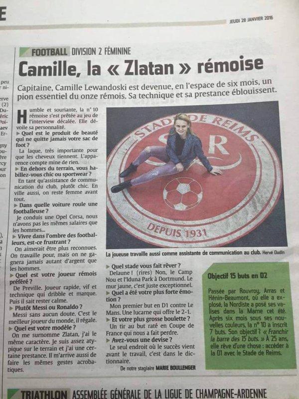 2015 D2 Féminines  Reims: dans la presse locale le 28/01/2016