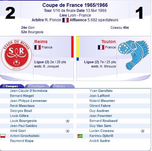 1965 CDF 16ème Finale : REIMS TOULON 2-1, le 13/02/1966
